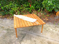 """Vintage Teak picnic Travel Table low 14"""" tall MCM 30x30 coffee roll top unique"""