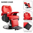Hydraulic Deluxe Recliner Barber Chair Beauty Hair Salon Spa Equipment Red