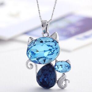 Blue Cat Kitten Necklace Swarovski Crystal Element  Chain Necklace Pendant Gift