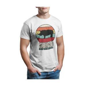Rhino Is My Spirit Animal - Unisex White T-Shirt - Geek Retro Fun Kitsch Cotton