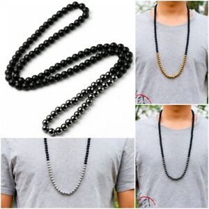 Natural Matte Black Onyx With Hematite Golden Silver 8mm Stone Necklace Beads