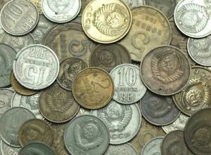 10 USSR SOVIET UNION COINS KOPEKS WITH HAMMER AND SICKLE 1961-1991