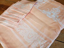 Vtg Salmon Pink Linen Damask Tablecloth 86x72 & 7 Napkins Unused foral Iris Set