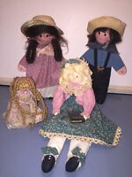 Wooden Amish Style 11 Inch Dolls Lot Of 4