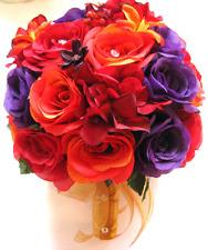 17 piece Wedding Bouquet Bridal Silk flowers ORANGE APPLE RED PURPLE GOLD PLUM