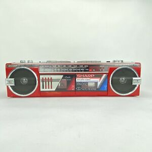 Vintage Sharp WQ562 Boombox Red Dual Cassette Portable Radio