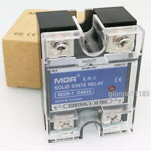 US Stock 40A Solid State Relay SSR DC-AC Input 3-32V DC Load 24-480V AC D4840
