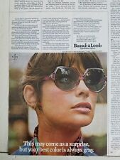 1973 vintage Bausch & Lomb Optimum Optics women's sunglasses fashion ad