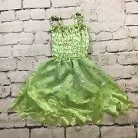Fairy Princess Pixie Costume Girls Sz M Dress Halloween Cosplay Green Silver