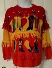 1990's Vintage Spree International Fringy Western Boots Ugly Sweater Medium