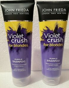 2 x JOHN FRIEDA Violet Crush PURPLE SHAMPOO 250ml Blonde Hair Tone Correcting