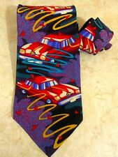 The Beatles Tie Drive My Car Pattern Purple Red 100% Silk Vintage 1991 Made USA