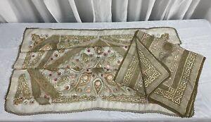 2 Piece 19th Century Turkish Islamic Ottoman Textile Set Silk With Gold Thread