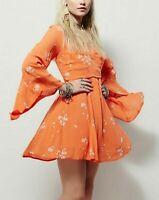 8517 New Free People Jasmine Embroidered Orange Plunging Neck Tunic Dress XS 2
