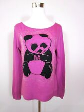 Italian Design Womens Purple Panda Print Wool Mix Knit Sweater Jumper sz L BA76