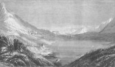 FRANCE. Lake & convent, peak of Mount Cenis, antique print, 1860