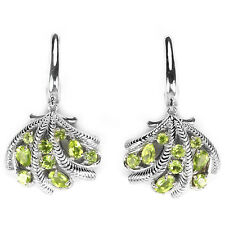 NATURAL AAA APPLE GREEN PERIDOT MIXED SHAPE STERLING 925 SILVER EARRINGS