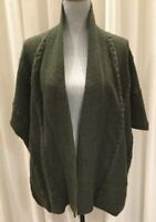 Authentic CABI Womens Open Front Soft Cable Knit Cardigan Sweater Green Sz S/M