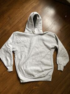 Vintage 80s Lands End Champion Reverse Weave Sweatshirt Hoodie Grey Blank XL