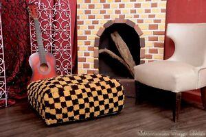 Handmade Pouf Cactus Boho  Footstool Shaggy Ottoman Pouf Checkred Cover Square