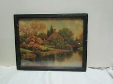 ANTIQUE FRAMED PAINTED BLACK w COTTAGE AND LAKE PRINT SHELL ADV SIGNED DREW 1940