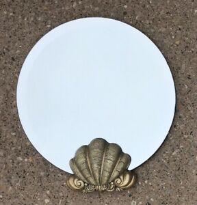 "VTG 20"" Round Frameless Beveled Wall Mirror w/ Gold Sea Shell Nautical Beach"