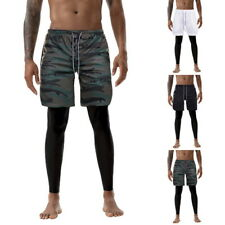 Mens 2in1 Running Sports Shorts With Phone Pocket Liner Workout fitness Short