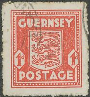 GB GUERNSEY 1941, 1 d. Arms of Guernsey VFU in very rare pale scarlet, VARIETY:
