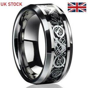 Ring Dragon Celtic Silver/Black Titanium Stainless Steel Wedding Fashion Band UK