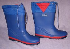 L.L.BEAN RUBBER SNOW BOOTS Size 4 Sharp Blue & Red with Ties to Keep Out Snow
