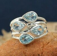 Solid 925 Sterling Silver Jewelry Blue Topaz Gemstone Engagement Gift Ring