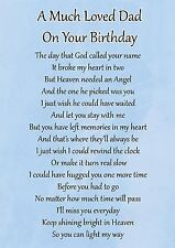 A Much Loved Dad Birthday Memorial Graveside Poem Card & Free Ground Stake F105