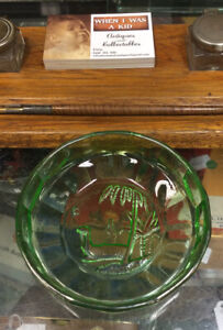 Vintage Green Glass Dish With Palms, Camel?
