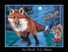 Red Fox Squirrel Mouse Mice on Broom Moon Forest ACEO Limited Edition Art Print