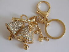 HANDBAG BUCKLE CHARMS CLEAR CRYSTAL WEDDING CHURCH BELLS BELL KEYRINGS KEY CHAIN