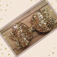 Gold Sparkle Large Glitter Hair Bow Clip Bobble Clasp