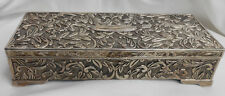 "GODINGER SILVERPLATE REPOUSSE JEWELRY BOX TRINKET 9"" ORNATE MIRROR RINGS"
