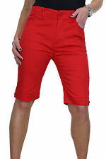 Plus Size Ladies Jeans Style Shorts Chino Sheen Black 14-24