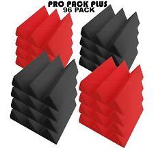 "Pro-Pack Plus Acoustic Foam 96pcs Red + Grey wedge12X12x4"" Soundproof tiles"