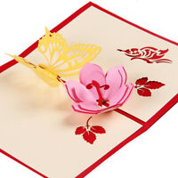 Mother's Day 3D Butterfly Flower Laser Invitation Greeting Cards Envelope Jian