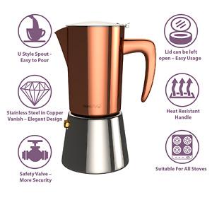 bonVIVO Espresso-Kocher, Maker, Kaffee-Maschine Edelstahl für 2 oder 6 Tassen