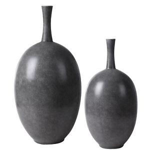 Marbled Black White Gray Modern Vase Set 2 Round Ceramic Minimalist Oval