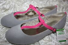 Land's End Slate Gray Suede Kailey T Strap Ballet Flats Girls Youth 6M