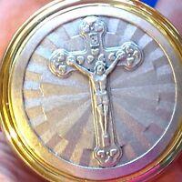 Religious Devotion PYX Host Communion Large JESUS Crucifix Devotion Two Tone