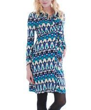 EVERLY GREY New! Maternity Lucy Ikat Blue Button Shirt DRESS Med blue teal nwt