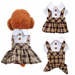 Coffee Plaid Pet Dog Dress Jumpsuit Clothes Puppy Cat Jacket Overalls Lover Suit