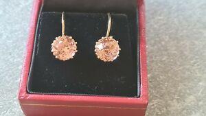 Ohrhänger Ohrringe 583 Gold Vintage russisch Russland gr. Steine Farbwechsler