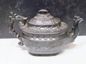 Early Antique English Black Basalt Teapot Large Ornate Impressed Mark