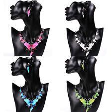 New Trendy Female Butterfly Pendant Metal Choker Necklace Earrings Jewelry Set