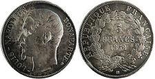 NAPOLEONE III , 5 FRANCHI TESTA NUDA , 1852 BB STRASBURGO , MOLTO RARO
